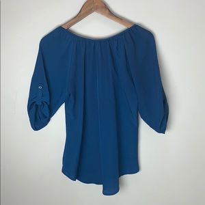 Express Tops - 🌻 Express Blue Flowy Top with Button Detail